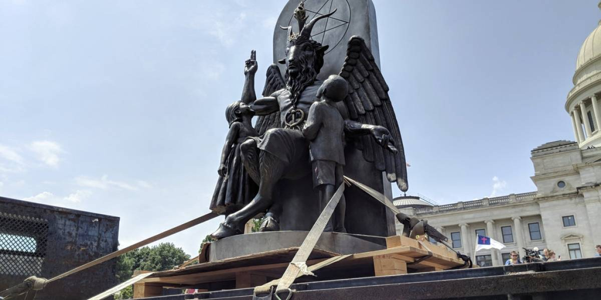 VIDEO.  Huge Satanic statue causes controversy and outrage in Arkansas