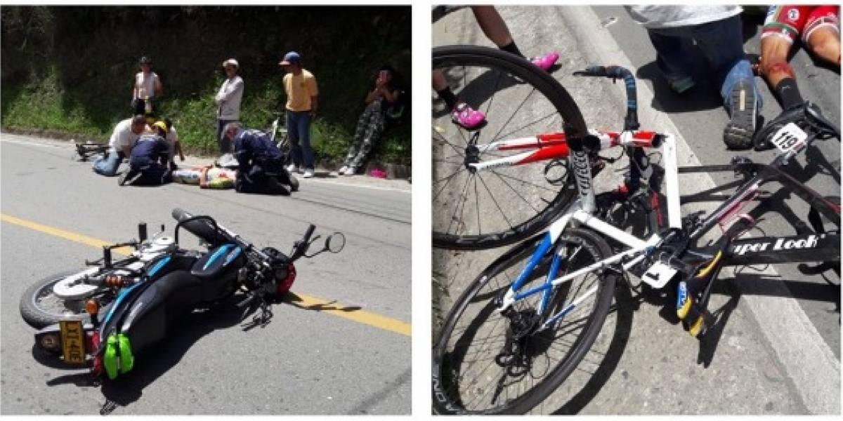 Moto arrolló a hermano de Miguel Ángel López en plena Vuelta a Colombia