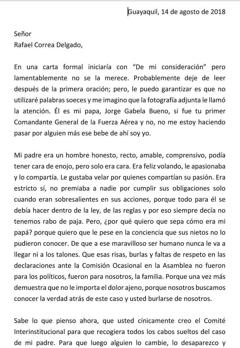 Anaís Gabela, indignada con Rafael Correa Twitter