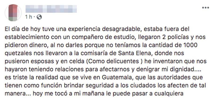 Versión de mujer capturada en Petén