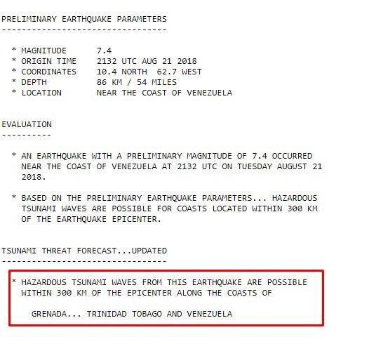 Alerta de Tsunami en Venezuela
