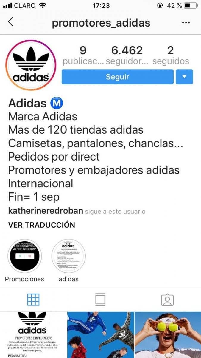 Perfil de promotores Adidas