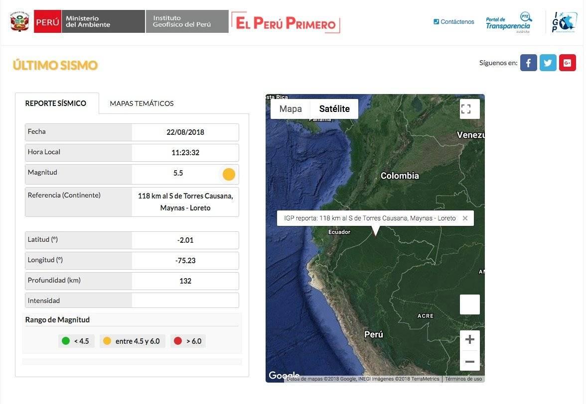 Temblor de 7 grados se registra en Ucayali — IGP