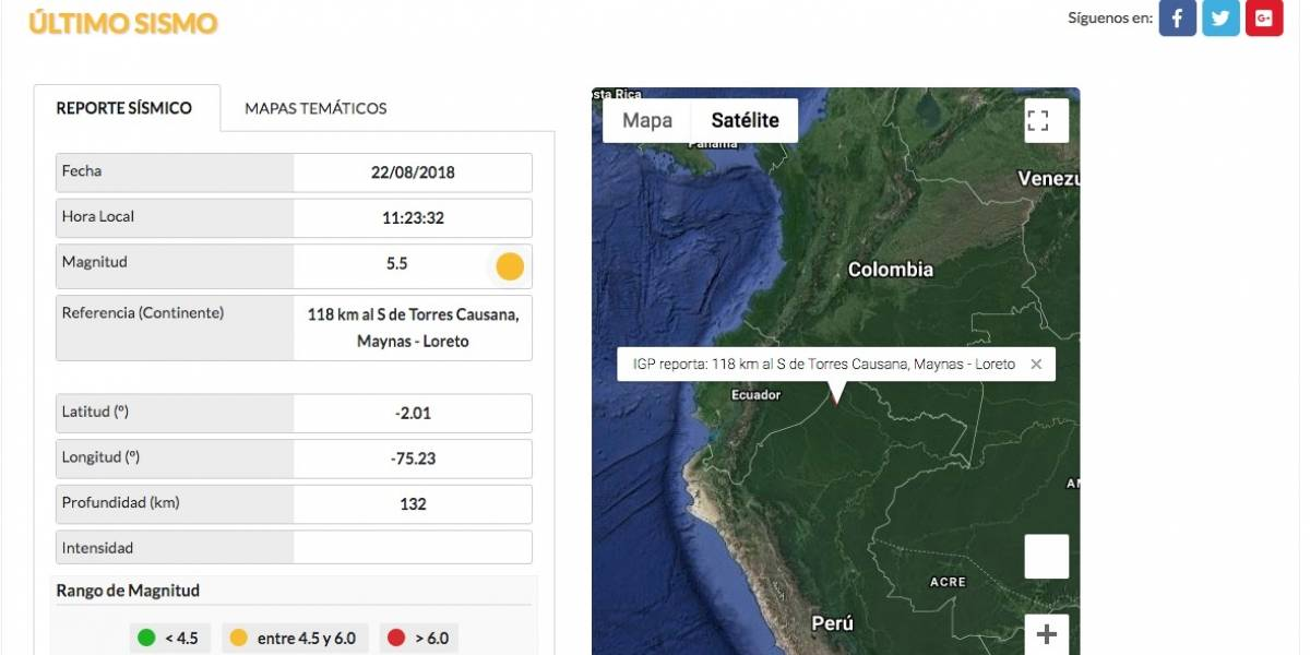Sismo de 7,1 de magnitud se registra entre Perú y Brasil