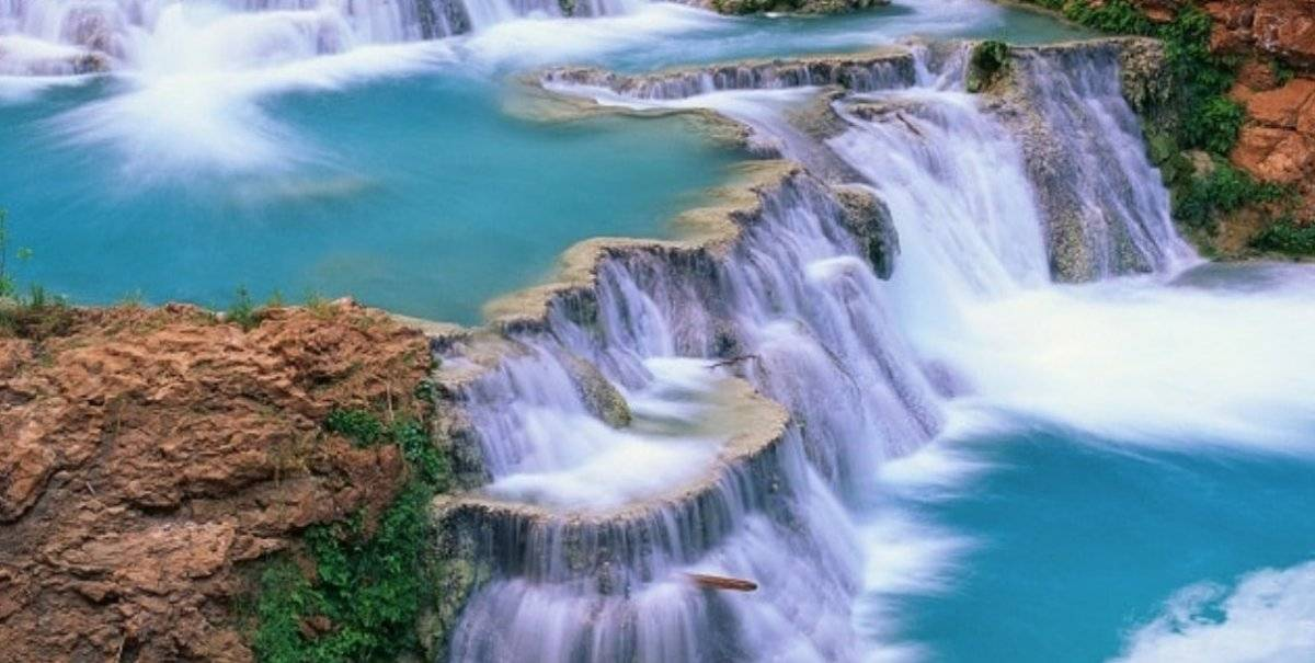 The waterfalls of blue water