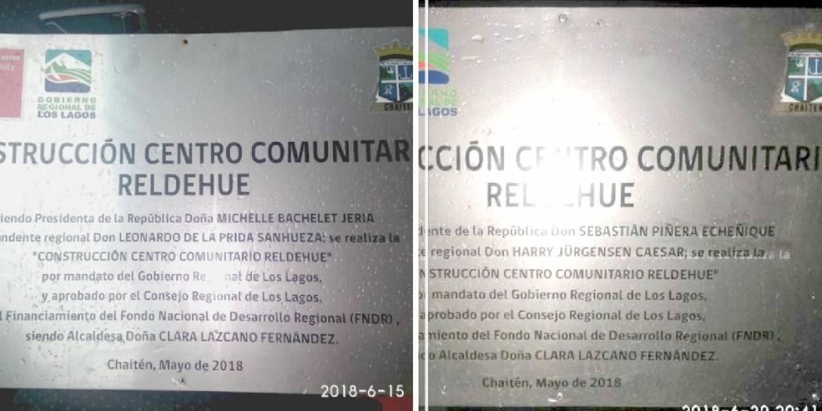 Acusan cambios de letreros que tenían el nombre de Michelle Bachelet por el de Sebastián Piñera