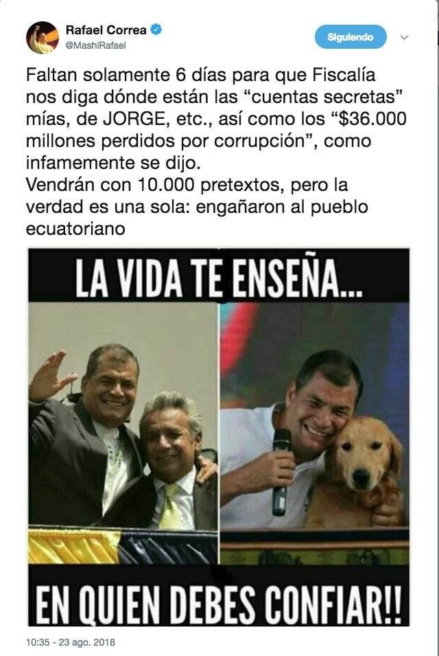 """Rafael Correa sigue esperando resultados sobre sus """"cuentas secretas"""" y millones perdidos por corrupción"""