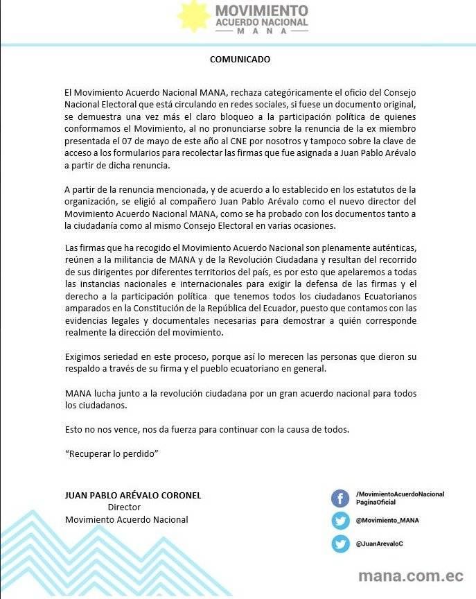 El CNE deja sin posibilidades de participación al movimiento MANA Captura de pantalla
