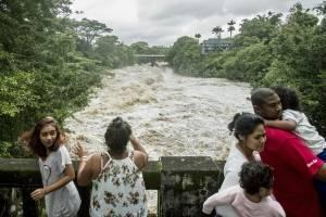 Personas observan desde el puente de la calle Puueo mientras el río Wailuku arrecia debajo de ellos en Hilo, Hawaii. / AP