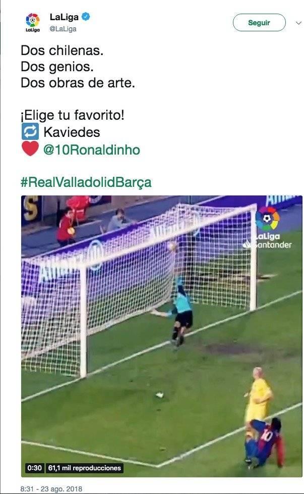 VIDEO: Liga española compara chilenas de Kaviedes y Ronaldinho