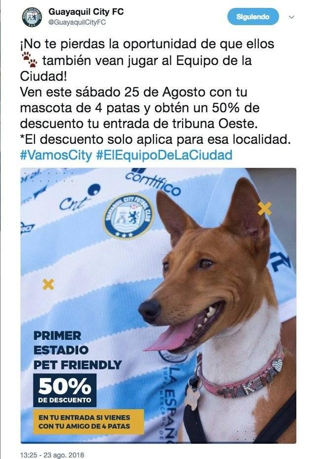 Se podrá llevar a tu mascota al partido de Guayaquil City vs Liga de Quito