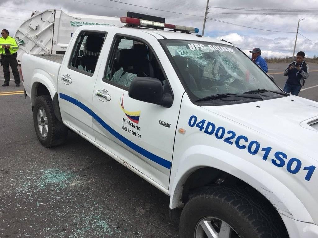 Agresión a Policías en la Y de Bolívar, provincia del Carchi Policía Nacional