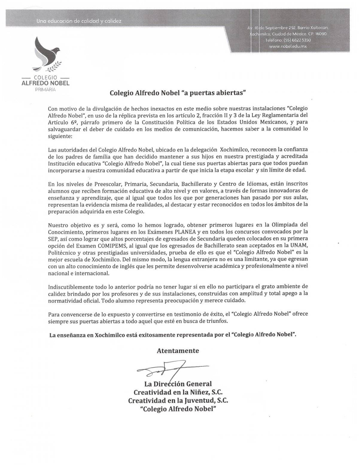 Derecho de réplica del Colegio Alfredo Nobel