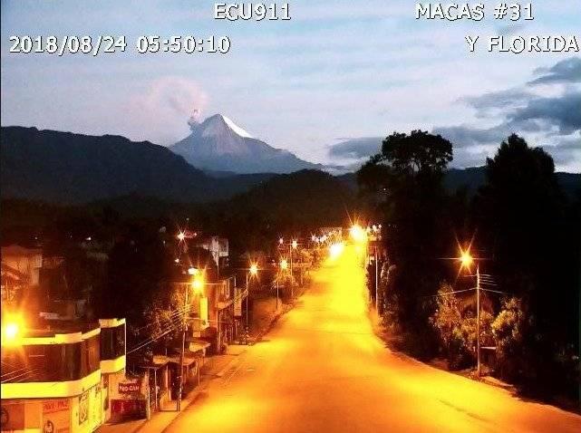 Volcán Sangay: Actividad eruptiva en la madrugada del 24 de agosto ECU 911 MACAS
