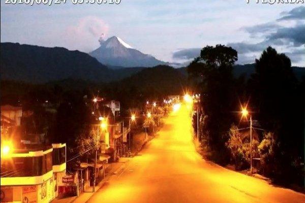 Volcán Sangay: Actividad eruptiva en la madrugada del 24 de agosto