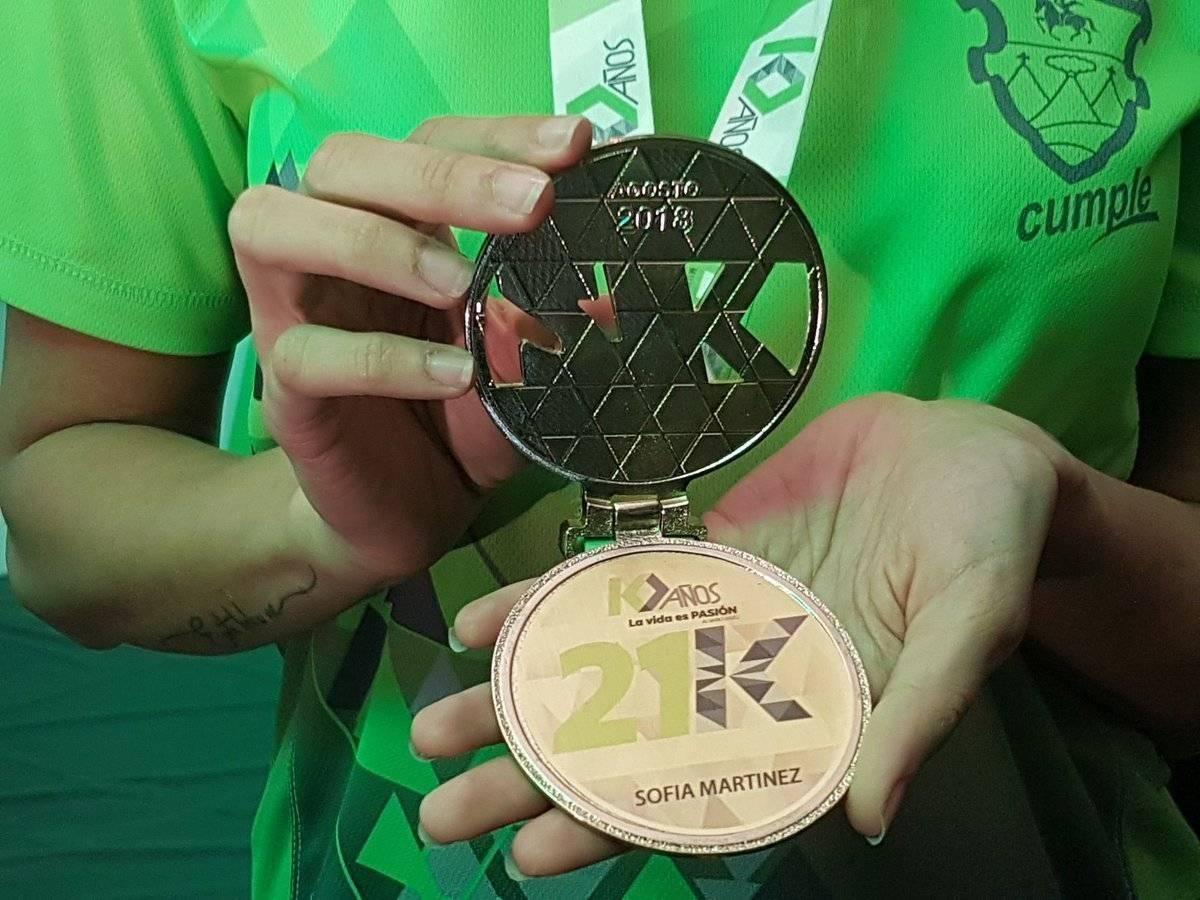 La medalla conmemorativa de los 21k 2018