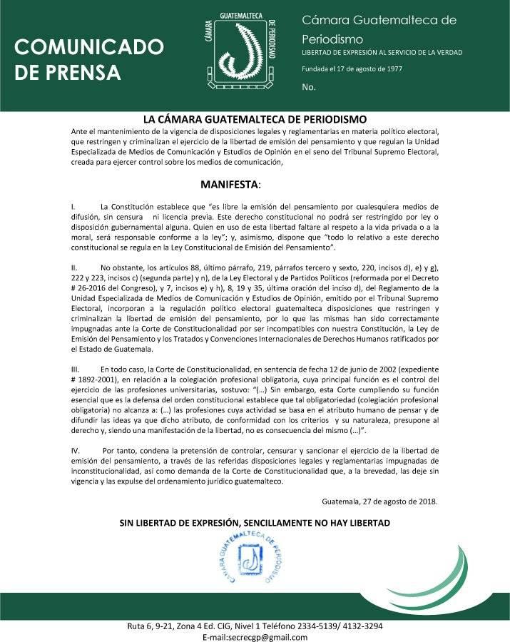 Comunicado de la Cámara Guatemalteca de Periodismo
