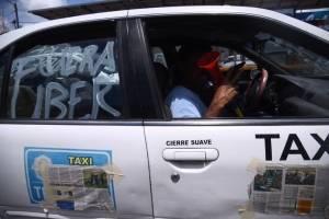 Manifestación taxistas contra Uber