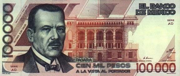 El billete más grande que ha existido en los últimos 90 años ha sido el de 100 mil pesos, en él se encontraba el ex presidente Plutarco Elías Calles. Foto: Banxico