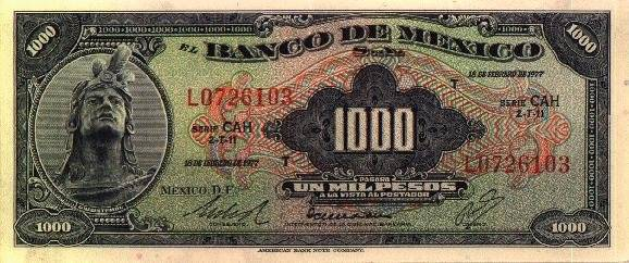 Billete de la serie AA de mil pesos con Cuauhtémoc al frente. Foto: Banxico