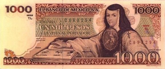 Sor Juana Inés de la Cruz estaba en los billetes de mil pesos durante muchas décadas, serie A. Foto: Banxico