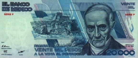 El abogado Andrés Quintana Roo representaba al billete de 20 mil pesos. Foto: Banxico
