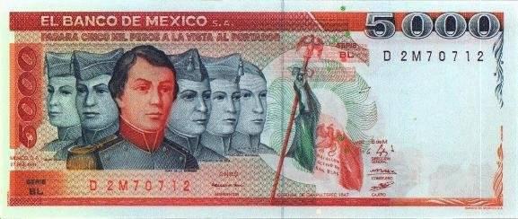El billete de 5 mil pesos era representado por los Niños Héroes y en el reverso el Castillo de Chapultepec. Foto: Banxico