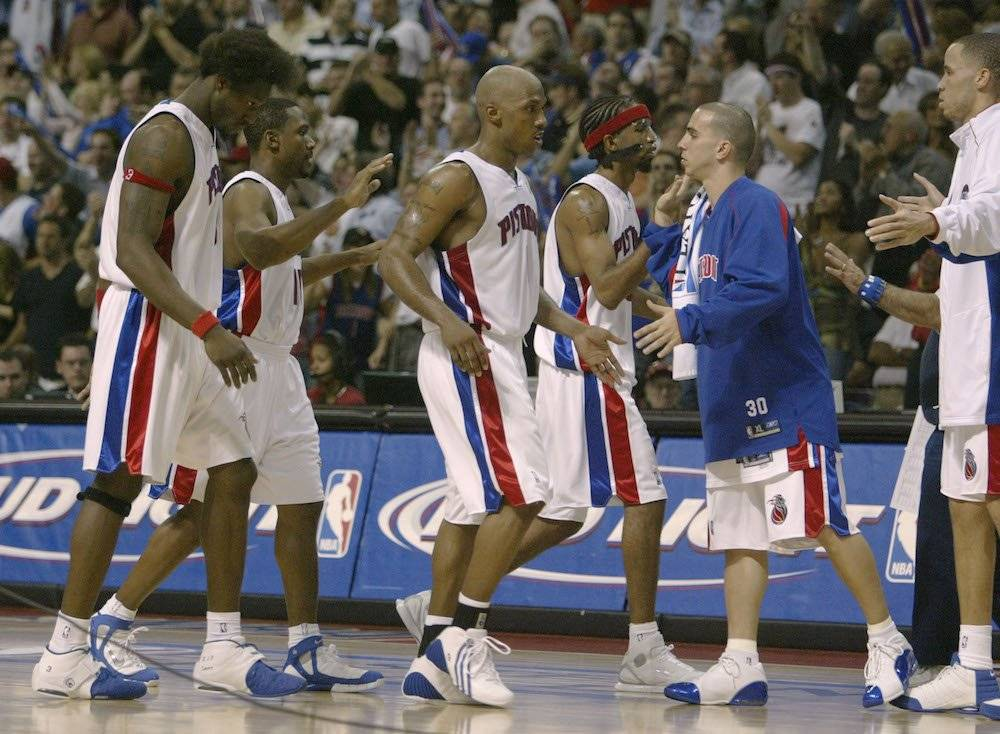 Ben Wallace, Chauncey Billups, Richard Hamilton / Getty Images