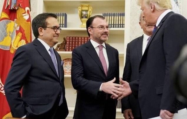 El canciller se reunió este lunes con el presidente de EU, Donald Trump. Foto: SRE