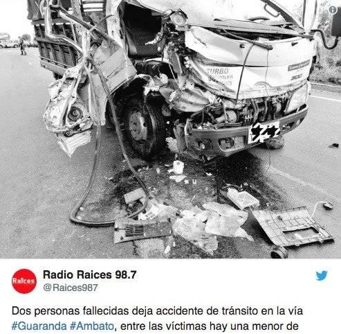 Choque entre un camión y una volqueta dejó dos fallecidas en la vía Ambato-Guaranda