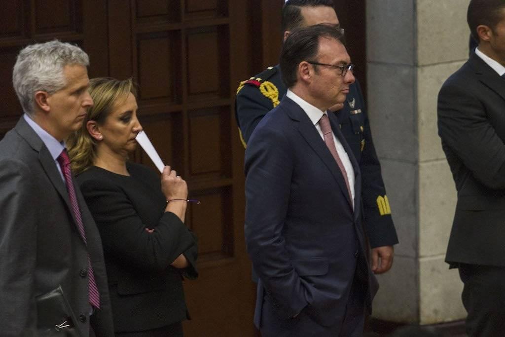 La entonces canciller Claudia Ruiz Massieu junto a Luis Videgaray, entonces secretario de Hacienda Foto: Cuartoscuro
