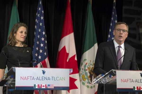 Chrystia Freeland y Robert Lighthizer