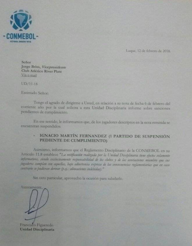 Respuesta de la Conmebol a River Plate Captura
