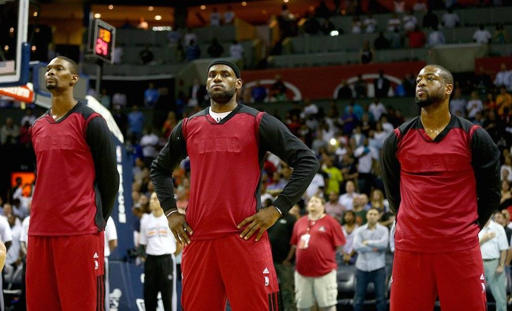 Chris Bosh, LeBron James, Dwyane Wade / Getty Images