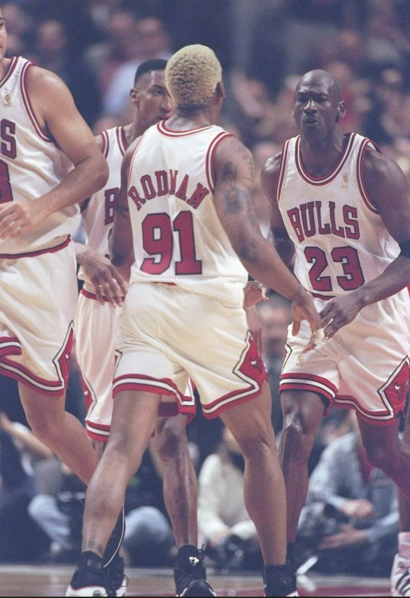 Scottie Pippen, Dennis Rodman, Michael Jordan / Getty Images