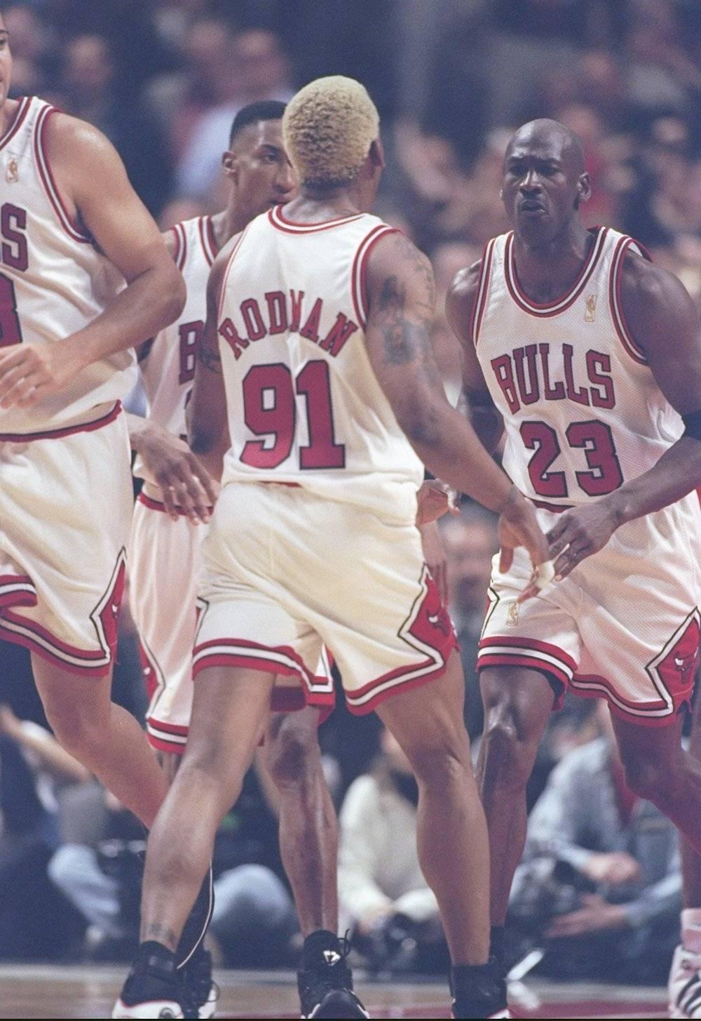 Scottie Pippen, Dennis Rodman, Michael Jordan / Getty Images