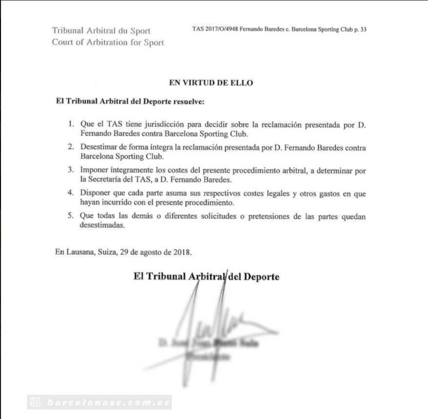El TAS falló a favor de Barcelona Sporting Club en demanda por Penilla y Paredes Captura de pantalla