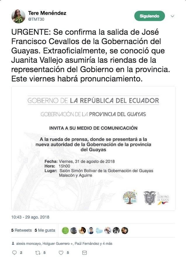 José Francisco Cevallos sale de la Gobernación del Guayas