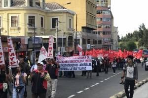Marcha en Quito de la FUT en contra las medidas económicas del Gobierno