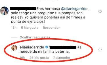 Captura de pantalla Instagram Elianis Garrido