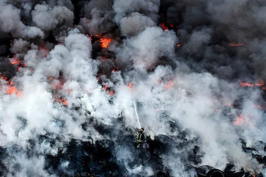 La intensa nube de humo en Maipú