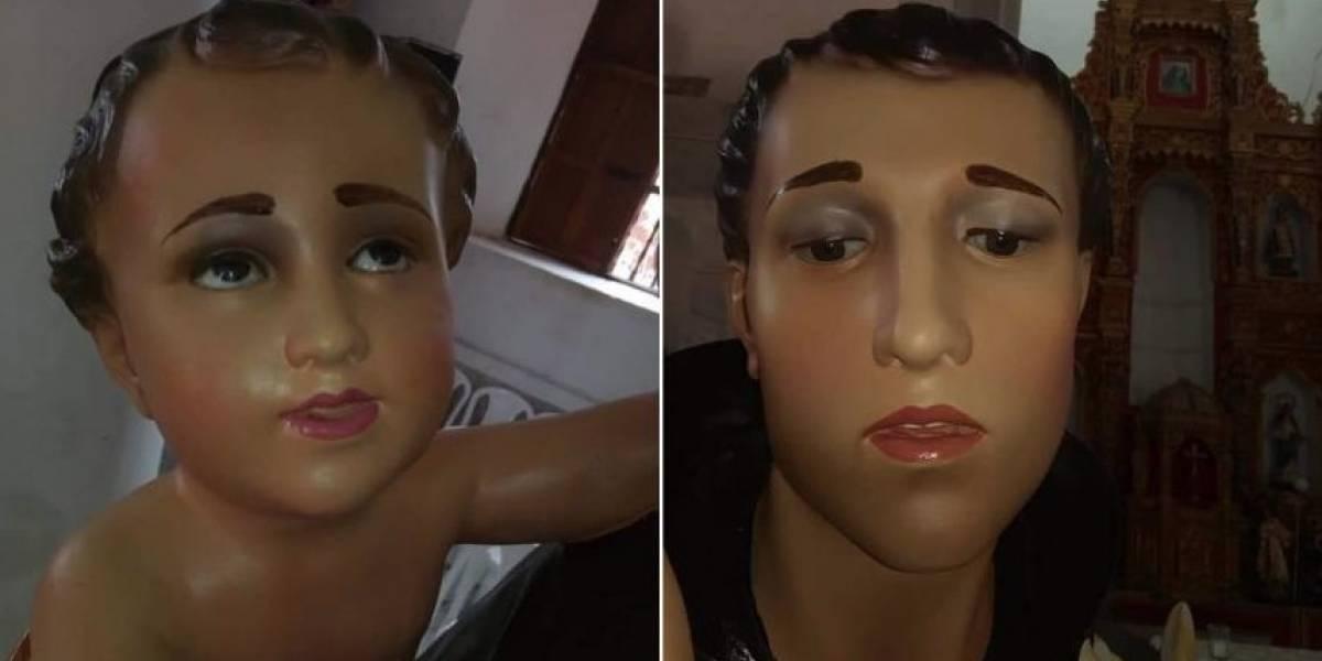 Polémica porque restaurador maquilló a San Antonio y al Niño Jesús en importante iglesia