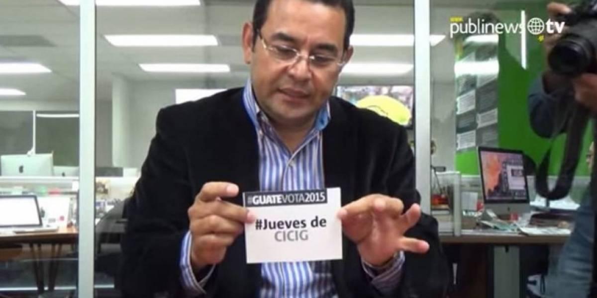 """Candidato Jimmy Morales en 2015: """"CICIG es una esperanza"""""""