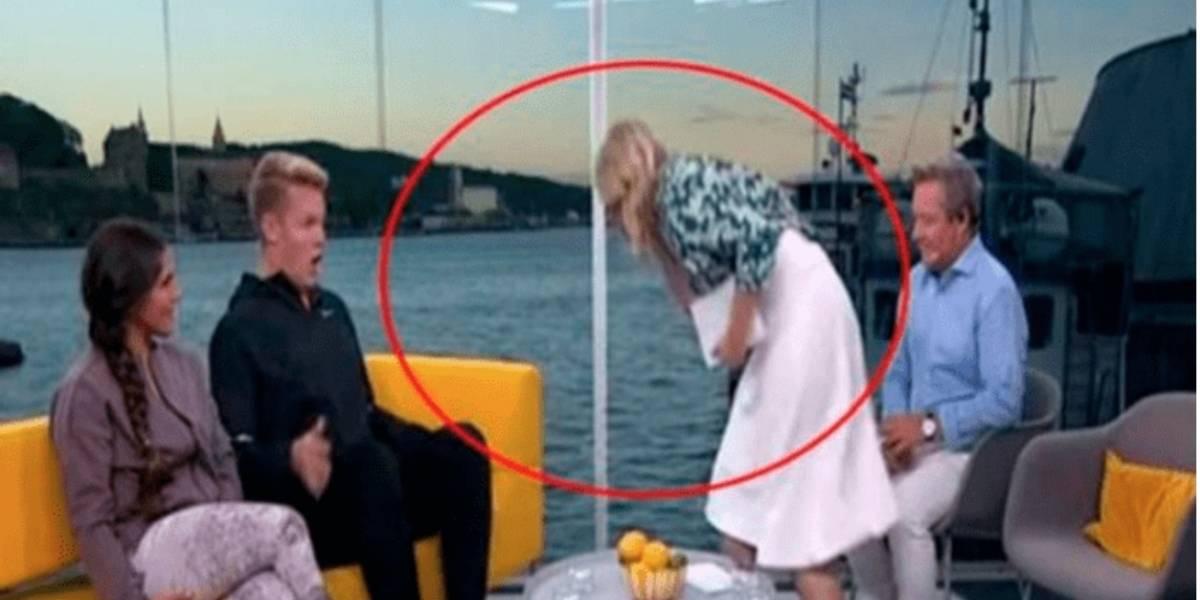Conductora vomita sobre su invitado en pleno programa en vivo