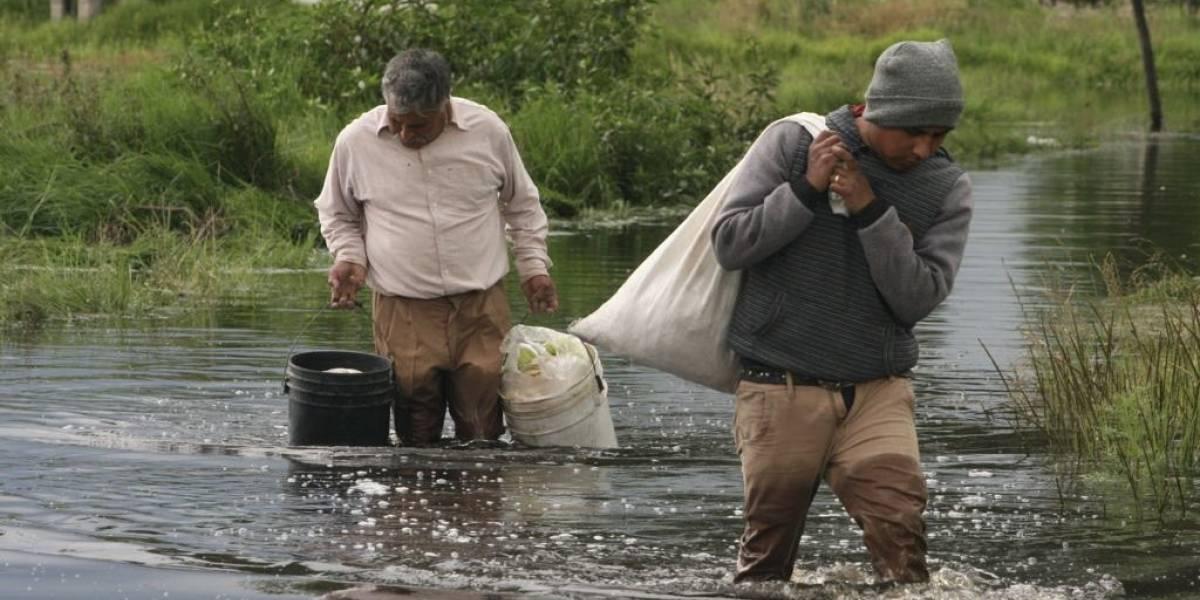 San Mateo Atenco bajo el agua tras desbordamiento del Río Lerma