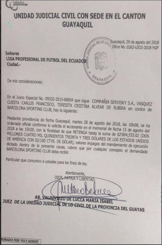 Unidad Judicial pide a la Liga Profesional retención de 2 millones a Barcelona SC
