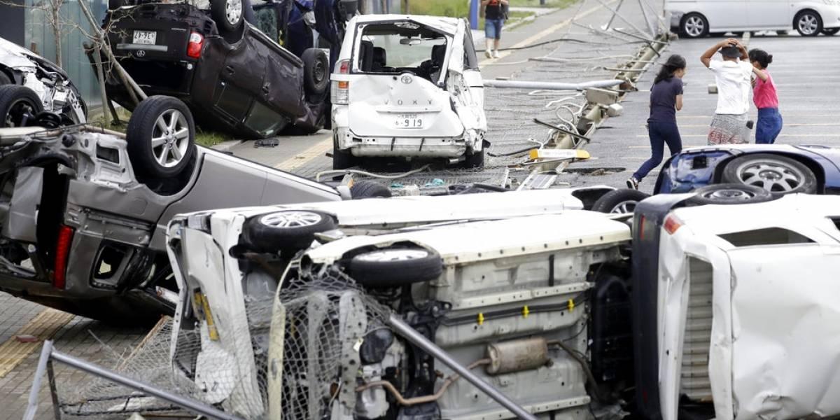 Volcó autos como si fueran plumas: las imágenes de devastación que dejó el paso del tifón Jebi en Japón