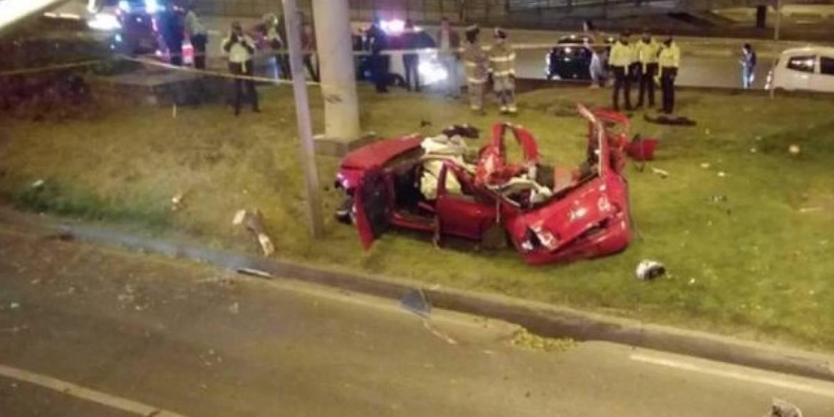 Tres miembros de una misma familia murieron en un accidente en la Autopista Norte