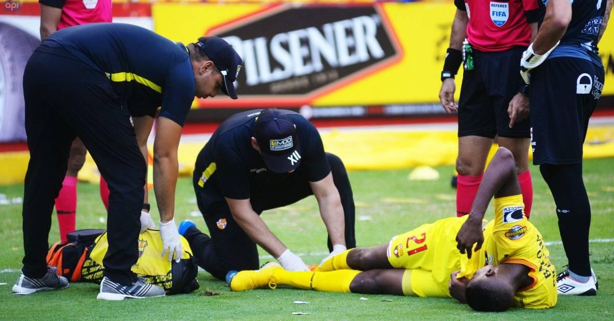 José Ayoví tras lesionarse en el partido ante Guayaquil City