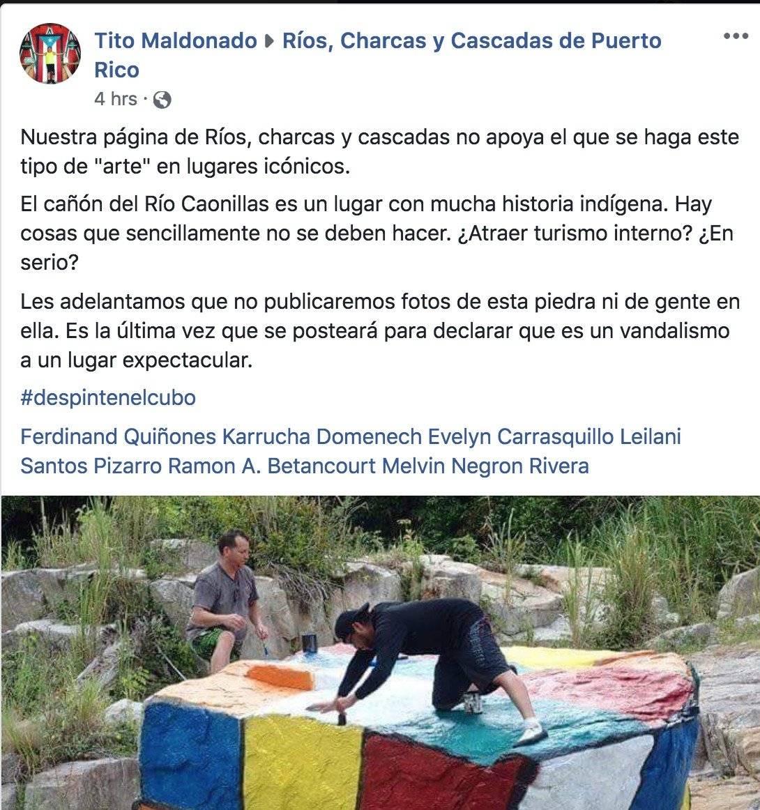 Post denuncia vandalismo en Río de Utuado